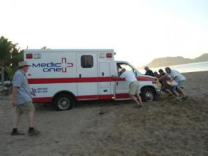 Ambulance stuck in sand at Melaque
