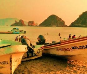 Fishermen's Pangas On Melaque Beach